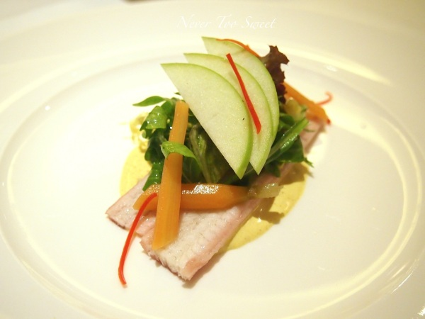Smoked eel salad with green apple