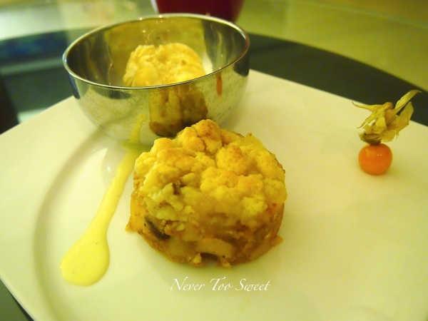 Apple Crumble with vanilla ice-cream and maple syrup $88HKD ($11AUD)