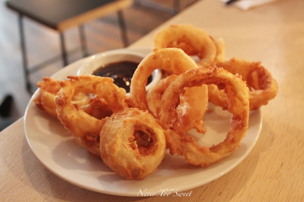 Hickory Smoked Onion Rings, Dr. Pepper BBQ Sauce $7AUD