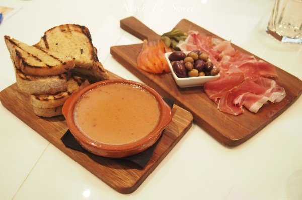 Chicken liver pate and antipasto
