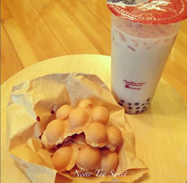 Egg Waffle $12HKD (($.150AUD) and Pearl Milk Tea $15HKD($1.90AUD)