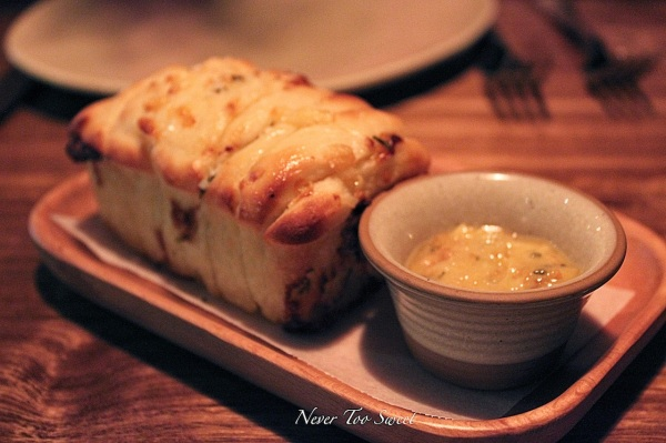 Complimentary bread with chicken skin butter