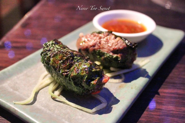 Grilled wagyu beef in la lot leaves with sour chilli vinegar