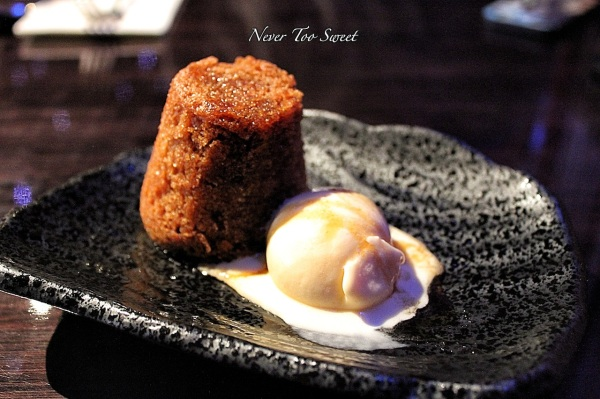 Steamed ginger pudding with palm sugar ice cream