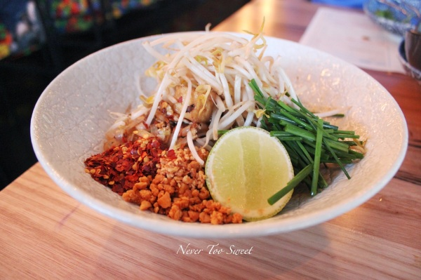 """Pad Thai"" with tofu, garlic chives, bean sprouts and crisps shallots $14.90"