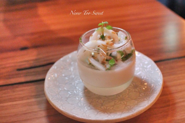 """""""Woon-Ma Prow"""" young coconut jelly with young coconut fleshed and toasted coconut $8.90"""