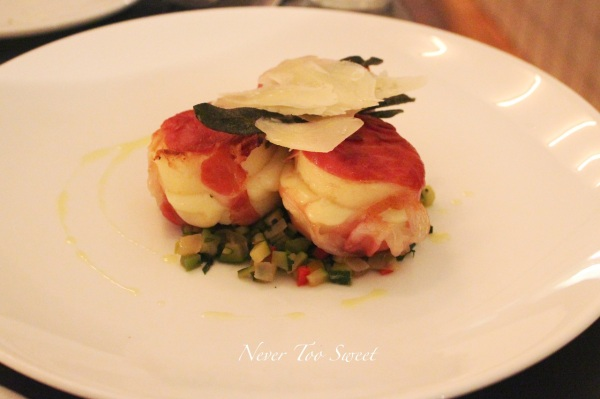 Gnocchi alla romana wrapped with smoked mozzarella and prosciutto on minted zucchini $22.5