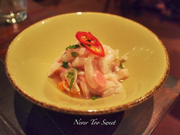 Ceviche - Peruvian style lemon cured white fish with chilli, sweet potato and onion $16