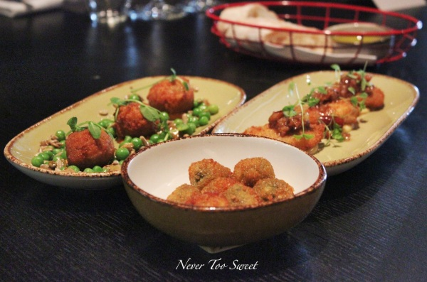 Starters - Fried green olives, Arancini, Chicken Wings