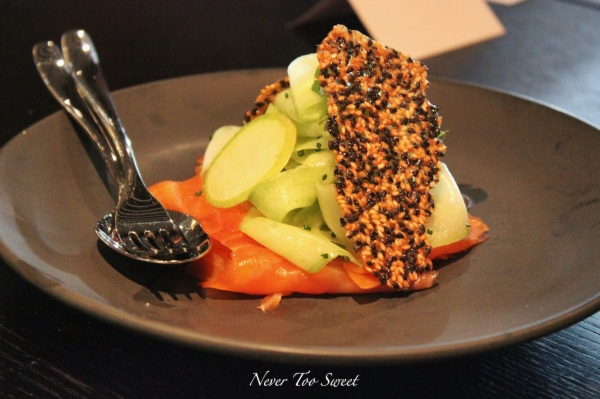 Smoked ocean trout sesame, soused cucumber, apple