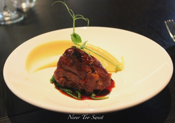 Lamb neck, shallot puree, black garlic