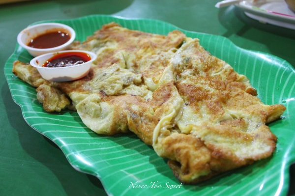 Oyster omelette $8SGD ($6.5AUD)