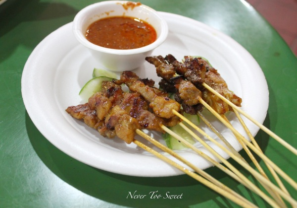Satay $6SGD ($4.9AUD) Pork, chicken, beef 60c and lamb 70c