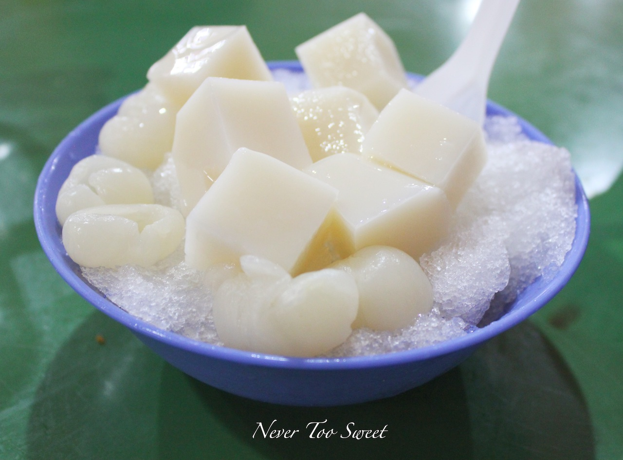 almond jelly with lychee recipe