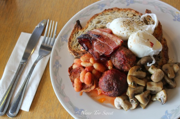Breakfast of Champions $18 – big breakfast, bacon, poached eggs, meatball, rosemary mushroom and toast