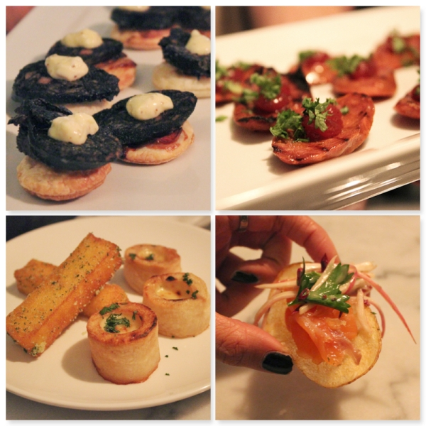 Canapes - Black sausage on pikelet, grilled chorizo, polenta chips and baked potato and house cured salmon on potato chip