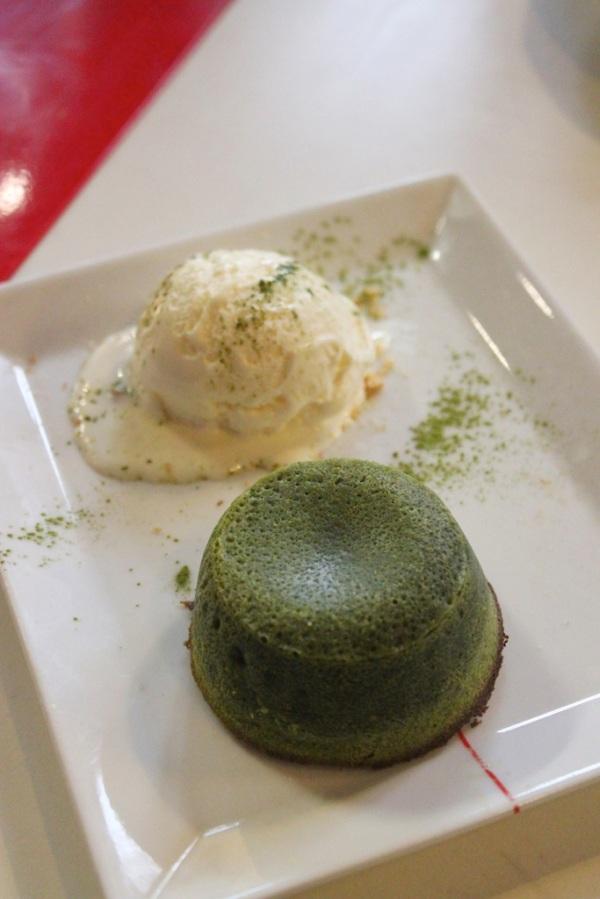 Matcha fondant with vanilla ice-crema $68HKD ($9.3AUD)