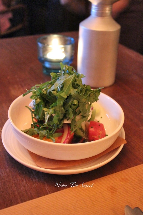 Heirloom tomatoes, watermelon, burrata, ginger sherry dressing $138HKD ($18AUD) +10% service charge
