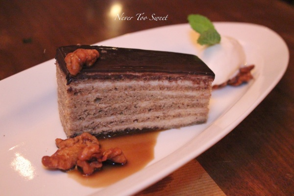 Banana Spice cake with candied walnut and mascarpone sorbet $98HKD ($13.5AUD) + 10% service charge
