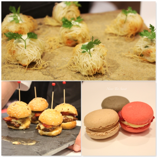 Crispy prawn, mini burgers and macarons
