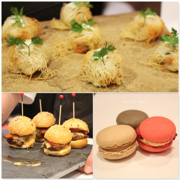 Crispy prawn, mini burgers and macarons