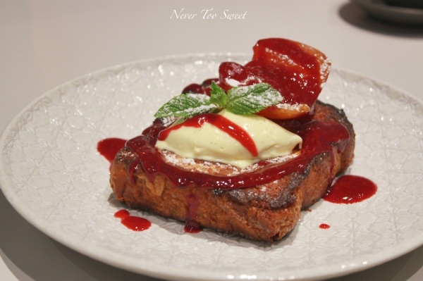 Brioche French Toast with Baked apple, vanilla mascarpone, maple and raspberry coulis $15