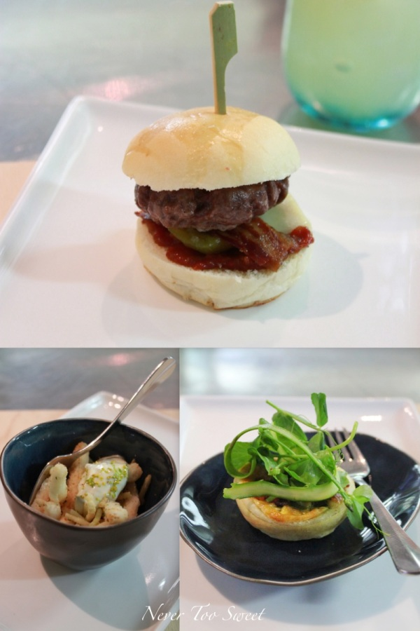 Neil Perry's - Rockpool Bar & Grill Slider, Asparagus pancetta and egg tart and Fried calamari and zucchini aioli