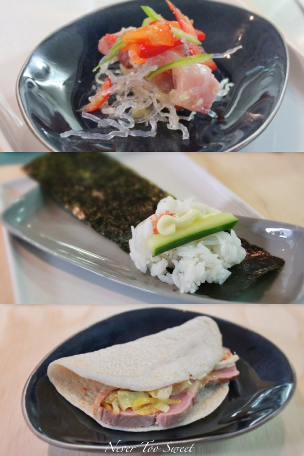 Hihou - Kingfish Ceviche sashimi, Duck breast crepe, with mustard miso and Temaki roll with lobster, cucumber and mayo