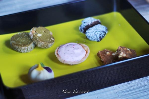 Japanese Sweet Treat Box - Matcha cookies, Japanese Whiskey chocolate, Mountain berry tart, Miso caramel nut praline