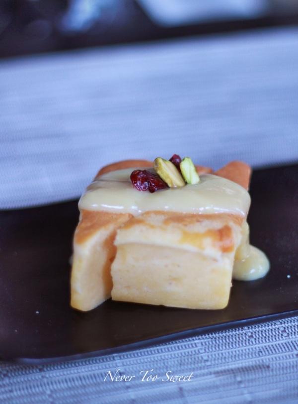 Warm Yuzu tofu cake, white chocolate sauce