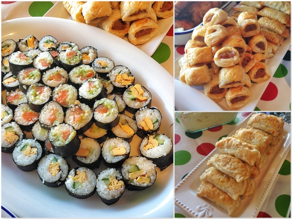 Sushi, Curry and Sausage rolls