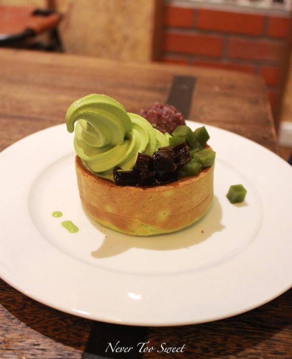 Matcha soufflé pancake with soft serve