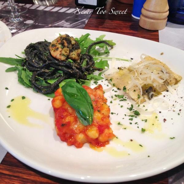 Mains - Squid ink pasta, gnocchi and ravioli