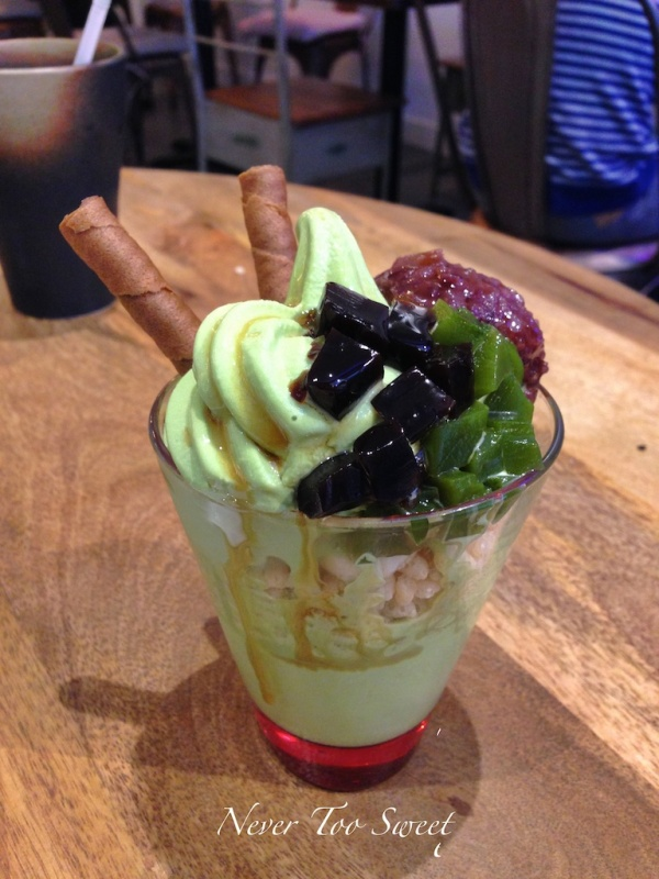 Matcha parfait with matcha jelly, red bean and rice crisps