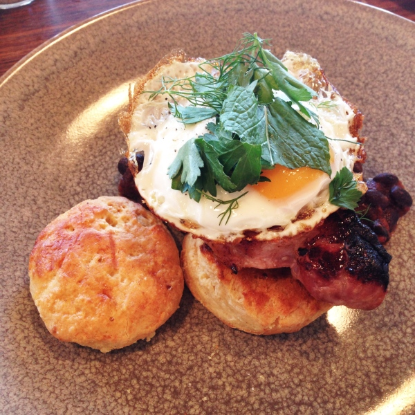 Bacon Steak, BBQ beans, apple cider scone and fried egg $19