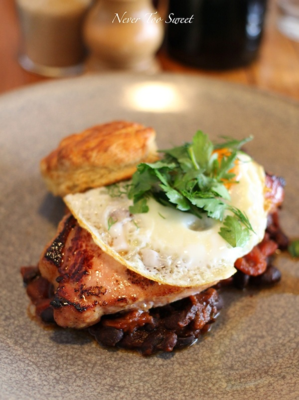 Bacon steak with BBQ beans, apple cider scones and fried egg $19