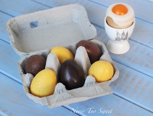 Hollow chocolate egg $15 and Chocolate soft boiled egg $9