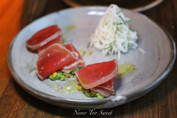 Sake washed Tuna with soy bean pesto & kohlrabi remoulade $22