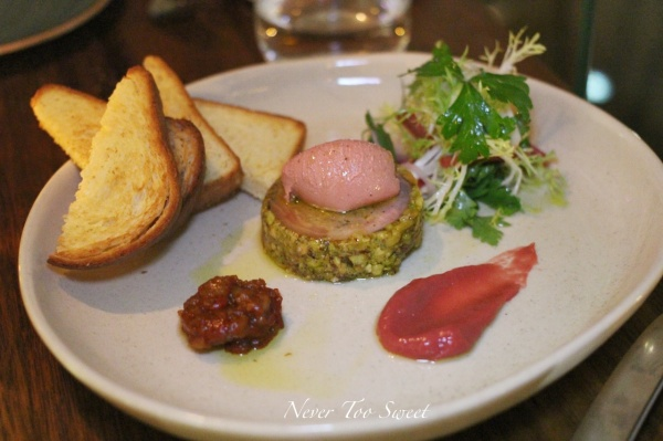 Country style terrine with foie gras parfait & rhubarb compote $21