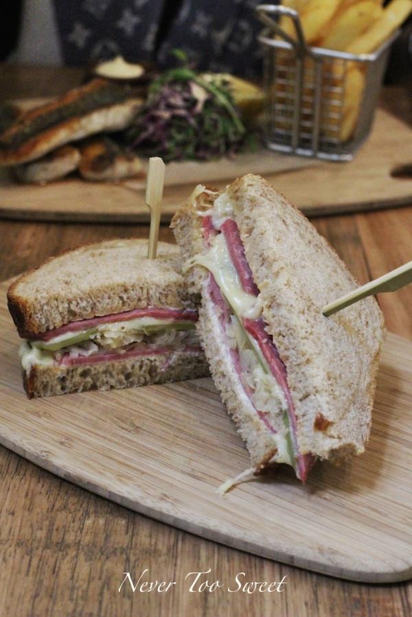 Reuben Sandwich - corned beef, sauerkraut, pickles, cheese and thousand island dressing $15