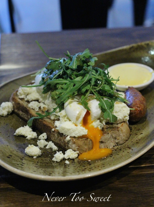 Rabbit's Breaky with smashed avocado, ricotta cheese, poached eggs on thick sourdough toast $12.5