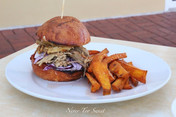 Pulled pork burger with coleslaw and sweet potato chips $23