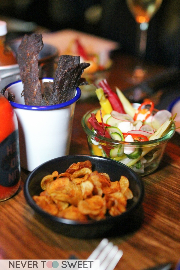 Beef Jerky, Pickled Heirloom vegetables and Kipfler chips