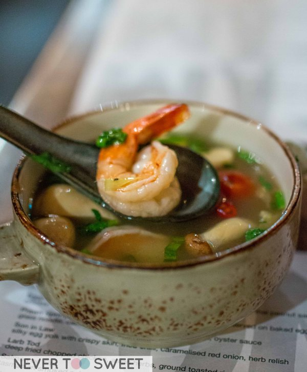 Tom Yum Soup with prawn $9.5