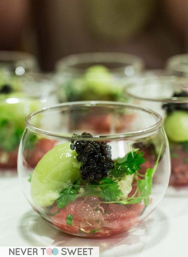 Sashimi grade tuna with textured green apple and sevruga Caviar