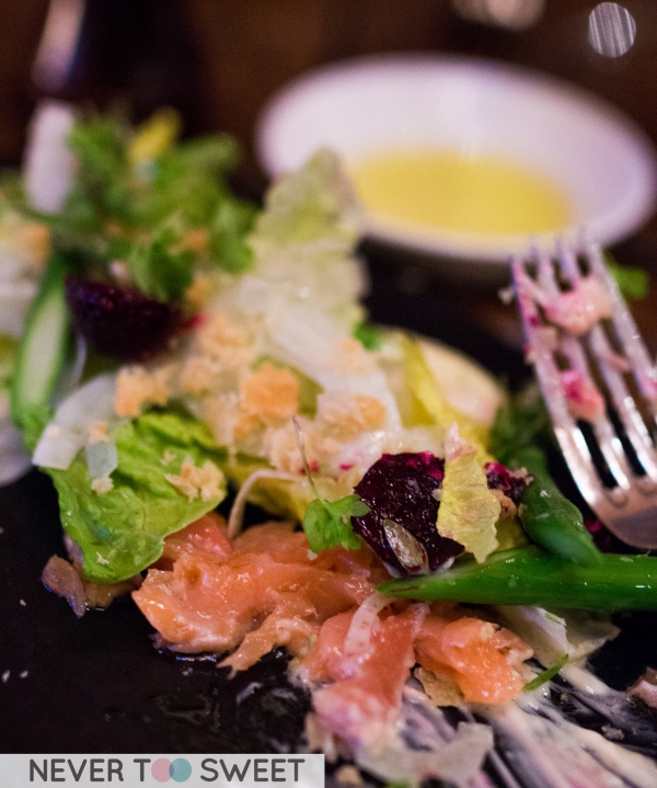 House smoked salmon, asparagus, baby beet and cos salad $18