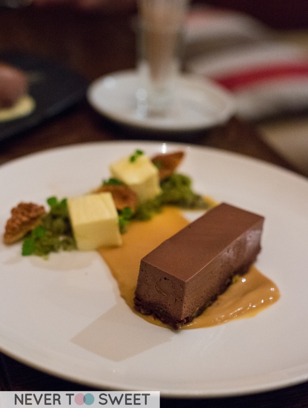 Chocolate and pistachio slice with salted caramel, honeycomb and passionfruit $14