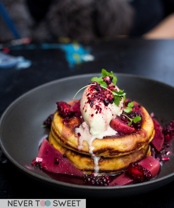 Buttermilk Pancakes with Mascarpone and raspberries.