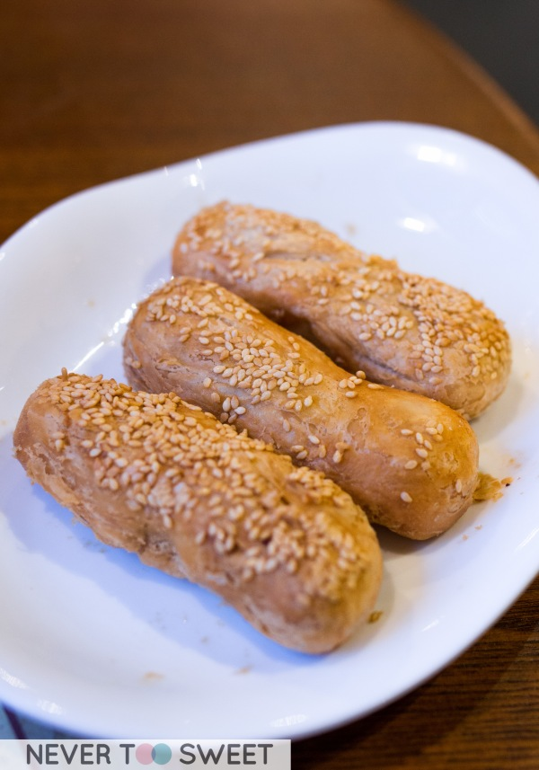 Baked pastry with red bean paste $9.5