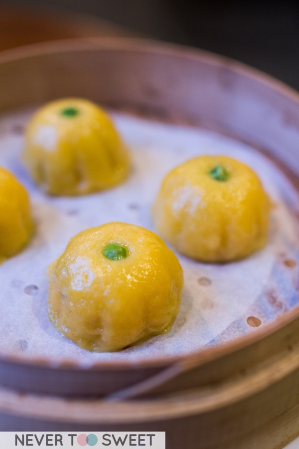 Steamed pumpkin and stick rice cake with red bean paste $9.5